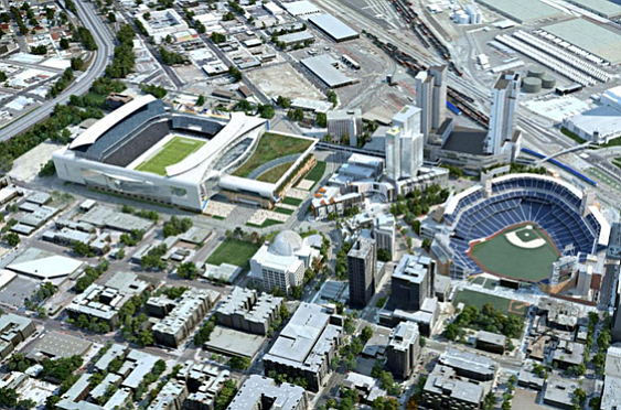 A conceptual rendering of the proposed Chargers stadium/c...