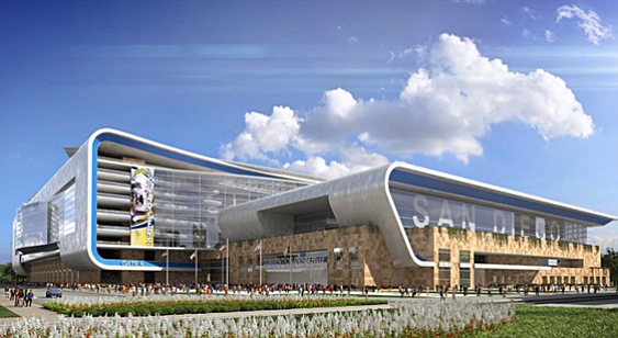 A conceptual rendering of the proposed Chargers stadium a...