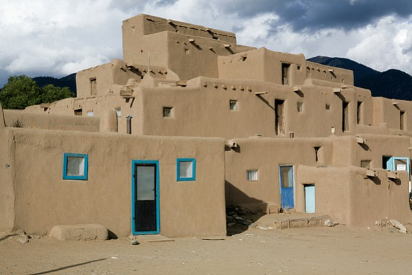 "America's first ""green buildings,"" the pueblos of the Taos Indians of N.M., w..."