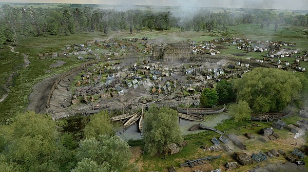 CGI reconstruction depicting a Viking camp.
