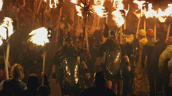 Viking re-enactors take part in the annual Up Helly Aa fe...
