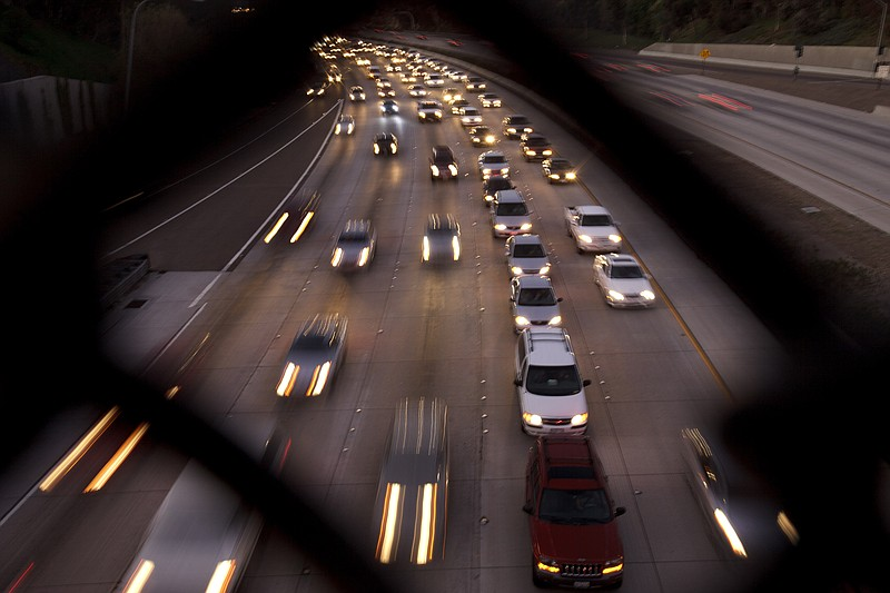 Traffic on a San Diego freeway is shown in this file photo, Nov. 22, 2011.