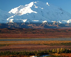 Mt. McKinley, the highest peak in North America, in Denali National Park, Alaska.
