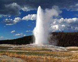 Old Faithful erupting, Yellowstone National Park.