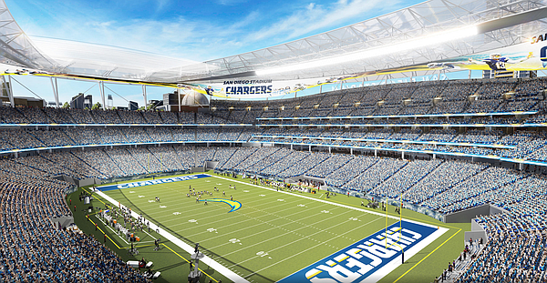 A concept design of a proposed Chargers stadium in downto...