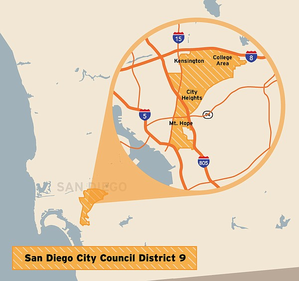 This map shows the location of the San Diego City Council...