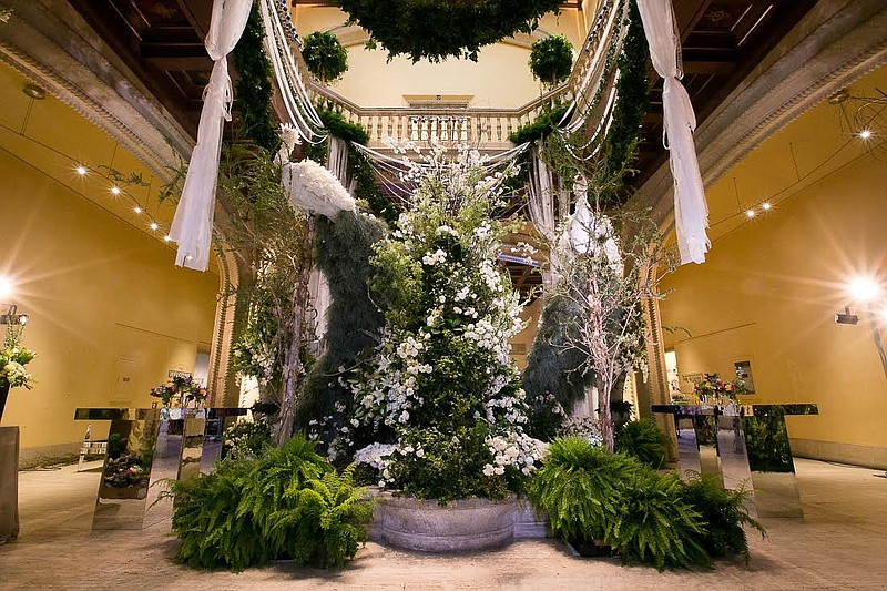 A photo of San Diego Museum of Art's Rotunda covered in flowers during Art Al...