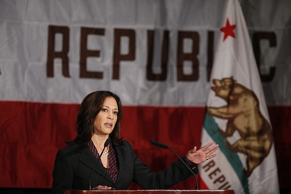 California Attorney General Kamala Harris gives a news co...