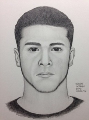 A sketch of a man suspected of raping a woman near Balboa...