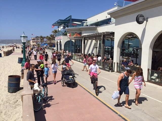 Photo Caption Pedestrians And Bicyclists Take In The Sights Sounds Of Mission Beach