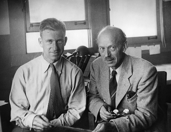 Walter Munk (left) with Harald Sverdrup in the George H. ...