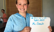 "Katie, 11, said that if she had a vote she would ""take away McDonalds,"" April..."