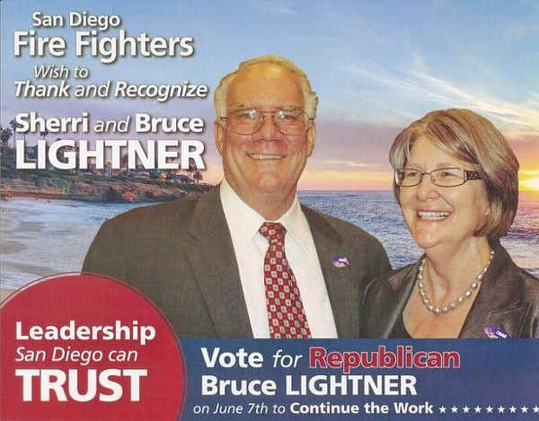 A mailer paid for by the San Diego firefighters union urg...
