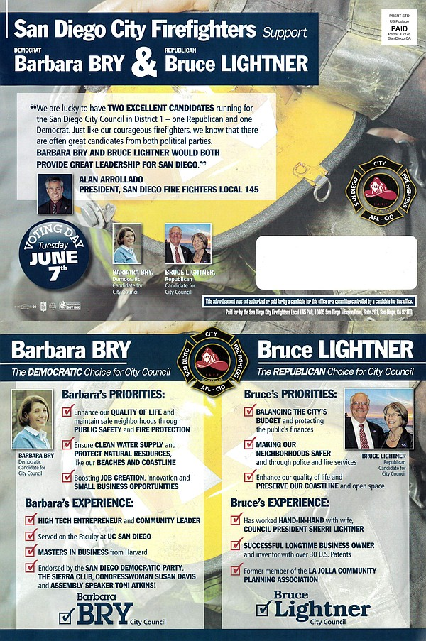 The San Diego firefighters union sent this mailer to vote...