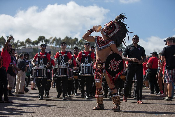 The current Aztec Warrior mascot is shown in 2014.