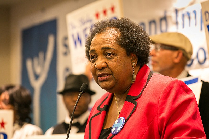 Shirley Weber speaks at the Westin Hotel in downtown San Diego, June 7, 2016.