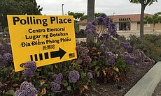 A polling place at Lopez Ridge Park in Mira Mes...