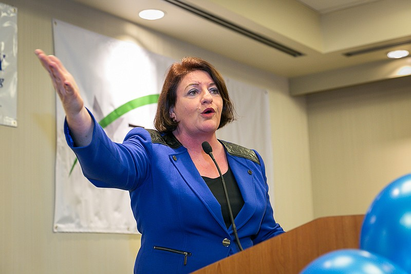 State Senate President Toni Atkins, D-San Diego, is shown speaking at the Wes...