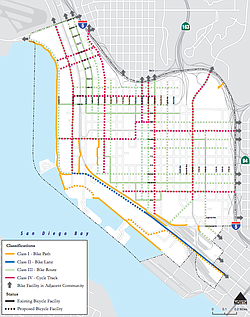 Proposed new bike lanes under the Downtown Mobility Plan appear in this undat...