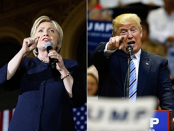Hillary Clinton, left, speaks in San Francisco, and Donal...