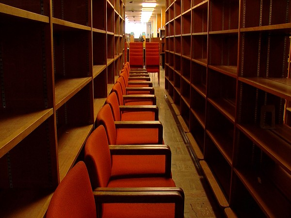 Rows of chairs on display at the former central library l...