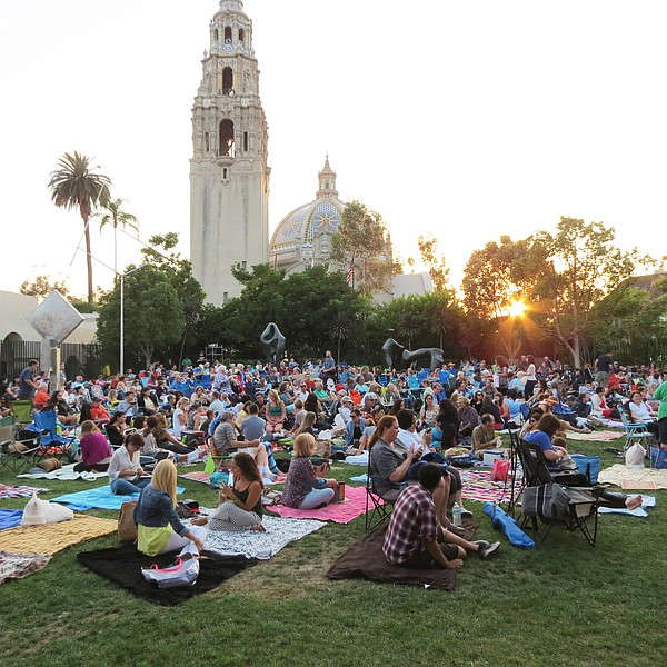 A photo of San Diego Museum of Art's Films in the Garden outdoor movie series.