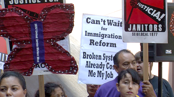 This undated photo shows San Diego business, labor and faith leaders rally to...