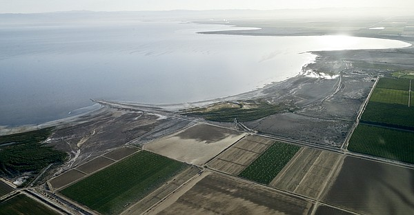 In this aerial photo exposed lake bed of the Salton Sea dries out near Niland...
