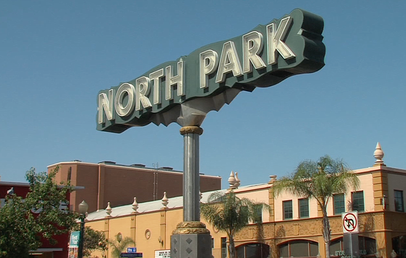 The North Park neighborhood sign stands at University Avenue and 29th Street,...