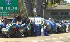 The homeless live in tents and makeshift shelte...