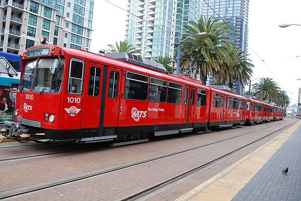 An MTS trolley in downtown San Diego, April 2, 2011.