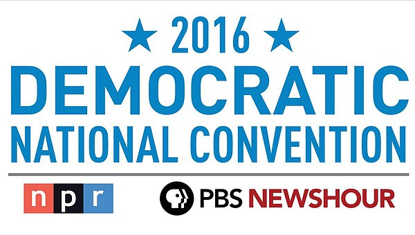 Graphic logo for PBS NEWHOUR & NPR coverage of the 2016 D...