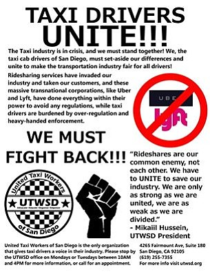 A flyer posted on the United Taxi Workers of San Diego's ...