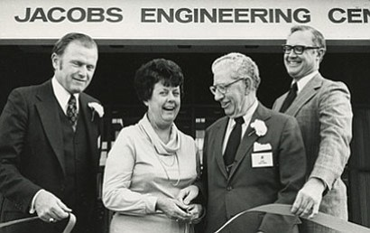 Joe Jacobs celebrates the opening of the Jacobs Engineeri...