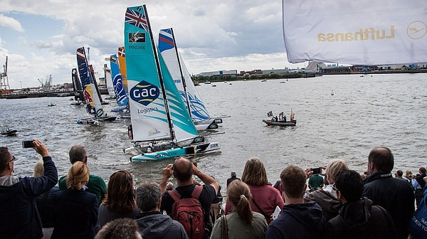 An Extreme Sailing Series race in Hamburg, Germany is sho...