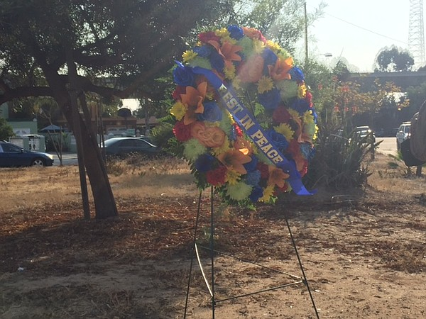 A funeral wreath to honor slain San Diego police Officer ...