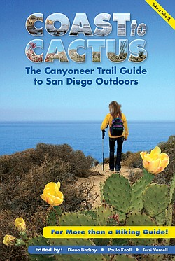 """The book jacket cover of """"Coast to Cactus: The Canyoneer Trail Guide to San Diego Outdoors."""""""