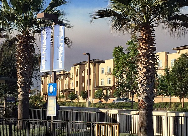 The North Santa Fe Apartments complex on the Sprinter line in Vista is shown ...