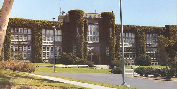 San Diego High School is pictured before it was torn down in 1973 to comply w...