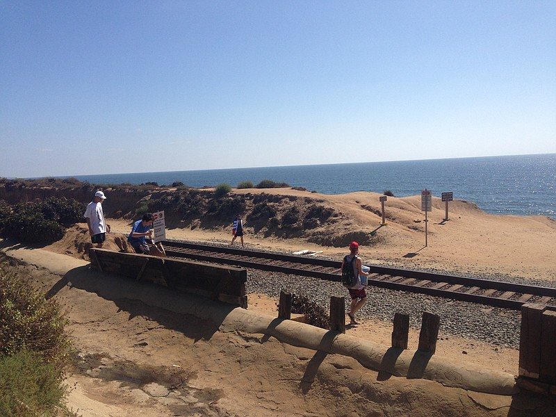 A group of beachgoers along the rail road tracks in Del Mar.  August 10, 2016.