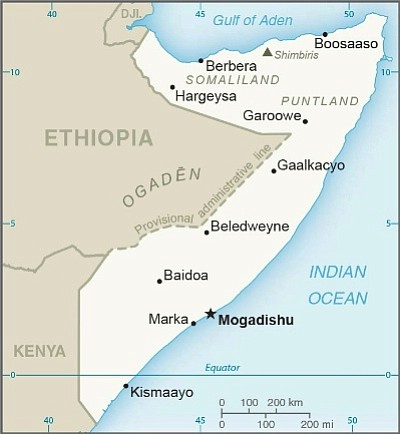 A U.S. Department of State map of Somalia.