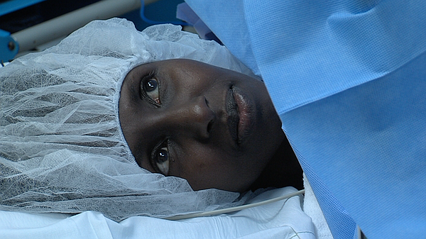 Maha Hussein, a Somali refugee, undergoes surgery to remo...