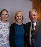KPBS General Manager Tom Karlo and his wife Julie Karlo with Judy Woodruff