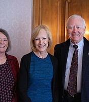 KPBS Producers Club members Jack and Carolyn Raymond with Judy Woodruff