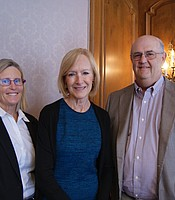 KPBS Producers Club members Frank and Victoria Hobbs with Judy Woodruff