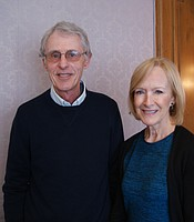 KPBS Producers Club member Richard Ayer with Judy Woodruff