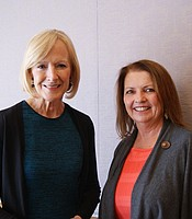 KPBS Producers Club member Mary Matava with Judy Woodruff