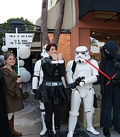 KPBS Arts and Culture Reporter Beth Accomando with Star Wars characters at Cinema Under the Stars