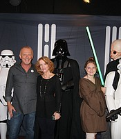 Cinema Under the Stars owners with Star Wars characters