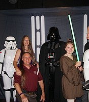 KPBS Producers Club members Kevin Cousineau and Karina Benish with Star Wars characters at Cinema Under the Stars